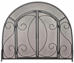 Classy Styled Single Panel Black Wrought Iron Ornate Screen w/ Doors