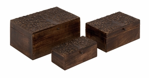 Classy Styled Unique Wood Carved Box by Woodland Import