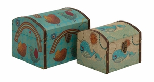 Classy Styled Wood Canvas Box by Woodland Import