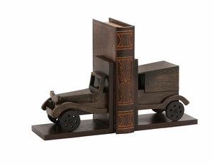Classy Styled Wood Car Bookend Pair by Woodland Import