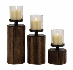 Classy Styled Wood Glass Metal Candle Holder by Woodland Import