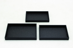 Classy Styled Wood Vinyl Tray Set/3 by Woodland Import