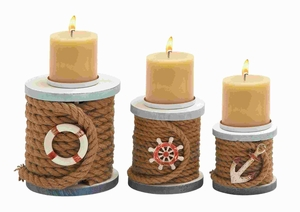 Classy Wood and Rope Candle Holder with Interesting Design Brand Woodland