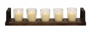 Classy Wood Metal Glass Candle Holder by Woodland Import