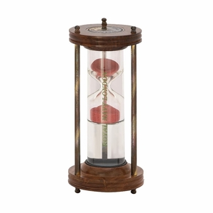 Classy Wood Metal Water Sand Timer - 24512 by Benzara