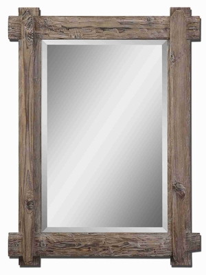 Claudio Wood Wall Mirror with A Light Burnished Walnut Stain Brand Uttermost