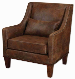 Clay Style Arm Chair With Tanned Leather Brand Uttermost