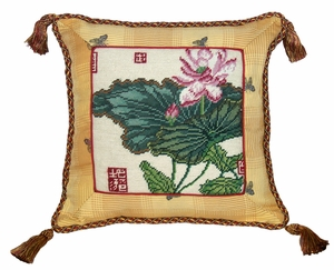 "Clean and Pure Lotus Needlepoint pillow 16x16"" by 123 Creations"