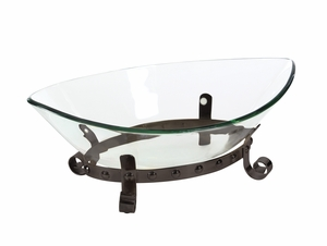 Clear Glass Bowl With Metallic Base - 68581 by Benzara