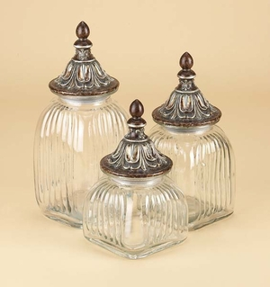 Clear Glass Canister Jar Set of 3 with Lids, Fancy Canister Jars Brand Woodland