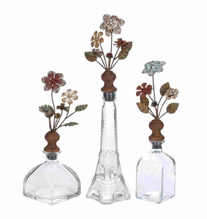 Clear Glass Metal Stopper Bottle Set Brand Benzara