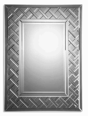 Cleavon Frameless Wall Mirror with Beveled Mirror Lattice Edges Brand Uttermost