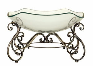GLASS BOWL METAL STAND WITH GREAT DECOR APPEAL - 81684 by Benzara