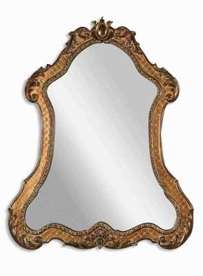 Cleopatra Wall Mirror with Antique Gold and Green Glaze Brand Uttermost