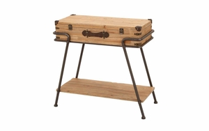 Clever Chest Table With Iron Support Legs and Lower Shelf Brand Woodland