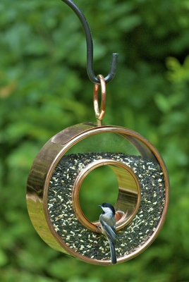 Fly-Thru Bird Feeder - Polished Copper by Good Directions