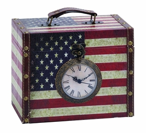 Cleverly Designed Clock Storage Box With Classic American Flag Brand Woodland