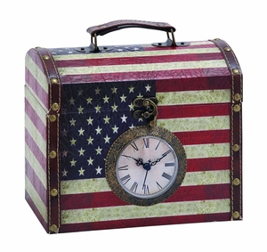 Cleverly Designed Clock Treasure Box With Classic American Flag Brand Woodland