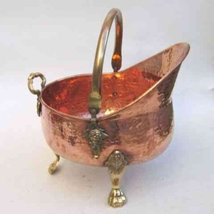 Coal Bucket - Antique Coal Bucket With Hammered Copper Plating Brand IOTC