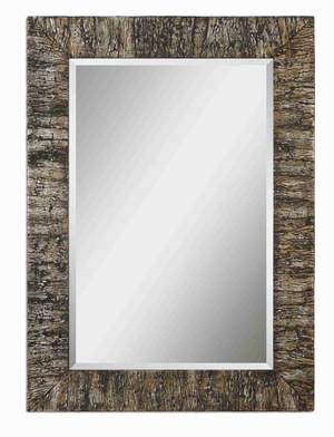 Coaldale Bark Wall Mirror with Bark Vaneer And Champagne Finish Brand Uttermost