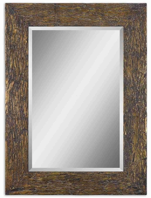 Coaldale Gold Wall Mirror with Bark Veneer And Gold Leaf Finish Brand Uttermost