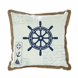 Coastal Decor Fabric Pillow with Ship Wheel Design Brand Woodland