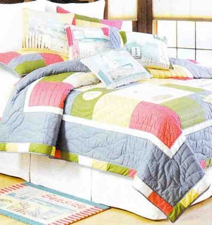Coastal Treasure Lighthouse Nautical Quilt Queen  Bedding Ensembles Brand C&F