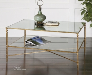 Coffee Table - Sophisticated Coffee Table Stand With Gold Leaf Finish Brand Uttermost