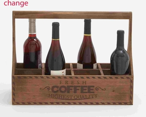 Coffee Themed Classy Wooden Portable Wine Holder Brand Benzara