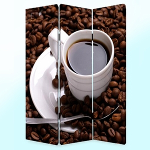 Coffee Time 3 Panel Screen with Intricate Detailing on Canvas Brand Screen Gem