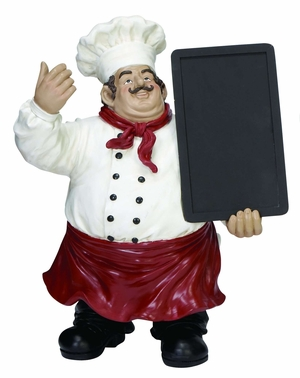 Cold Cast Resin French Fat Chef with Chalk Menu Sign Board Brand Woodland