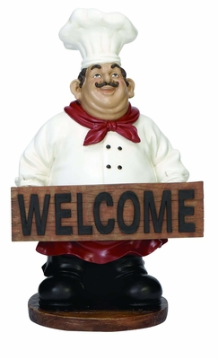 Cold Cast Resin French Fat Chef with Welcome Sign Board Brand Woodland