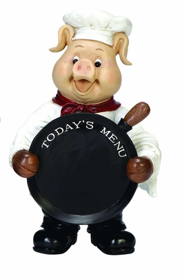 Cold Cast Resin Pig Fat Chef with Today's Menu Chalk Sign Board Brand Woodland