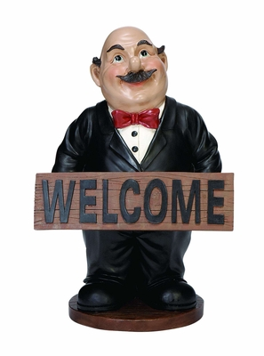 Cold Cast Resin Waiter Fat Chef with Welcome Sign Board Brand Woodland