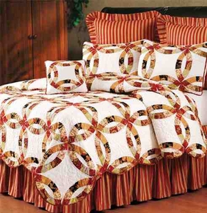 Colleen Wedding Ring Cotton  Quilt Luxury Os Twin  Bedding Ensembles Brand C&F