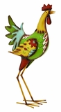 "Colorful and Charming Iron Rooster Garden and Lawn Decor 23""H, 11""W by Benzara"