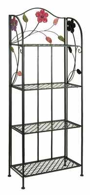 "Colorful and Elegant Bakers Rack With Flower Motifs 68""H, 25""W, 12""D  by Benzara"