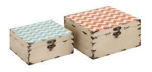 Colorful and Stylish Square Shaped Set of Two Boxes by Woodland Import