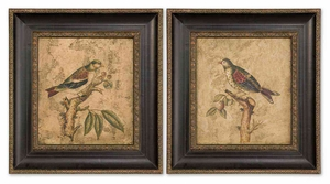 Colorful Birds on Branch Handpainted Canavas - Set of 2 Brand Uttermost