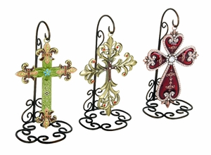 Colorful Crosses with Metal Stands Holiday Decor - Set of 3 Brand Woodland