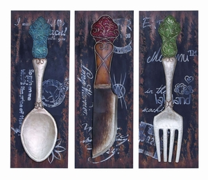 Colorful Dinner Flatware Wall Decor For The Dining Room Brand Woodland