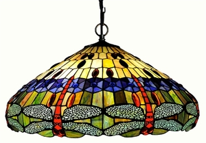 Colorful Dragonfly Pendant Lamp by Chloe Lighting