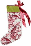 Colorful Fascinating Toile - Red Xmas's Needlepoint Stocking by 123 Creations