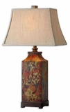 Colorful Flowers Table Lamp with Walnut Finish Brand Uttermost