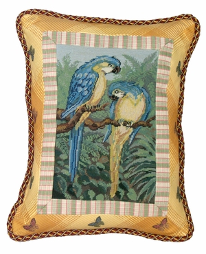 """Colorful Parrot in Yellow Petit Point Pillow 18x14"""" by 123 Creations"""