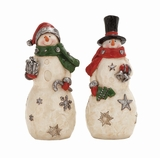 """Colorful Polystone Snowman Set of 2 w/ Presents Assorted 4""""W, 8""""H by Woodland Import"""