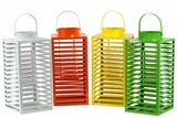 Colorful Set of Four Metal Lantern Assorted