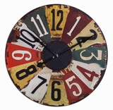 Colorful Wall Clock With Licence Plate Frame Numbers Brand Uttermost