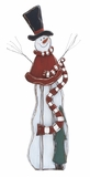 "Colorful Wood Snowman w/ Red Shawl 54""H, 19""W by Woodland Import"
