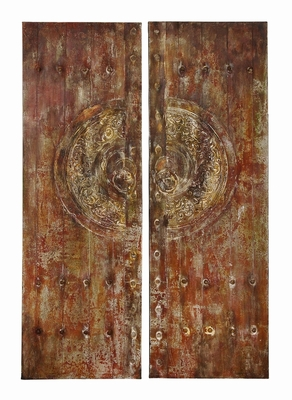 Canvas Art With Metallic Frontal In Brown Finish - Set Of 2 - 38503 by Benzara